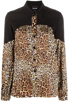 Just Cavalli Leopard-Print Contrast Shirt