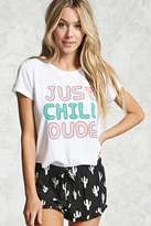 Forever 21 FOREVER 21+ Just Chill Dude Graphic PJ Set