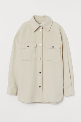 H&M Felted Shirt Jacket - Beige