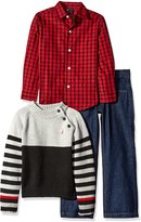 Nautica Little Boys' Toddler Three Piece Set with Button-Down Shirt Mock Neck Sweater and Pant