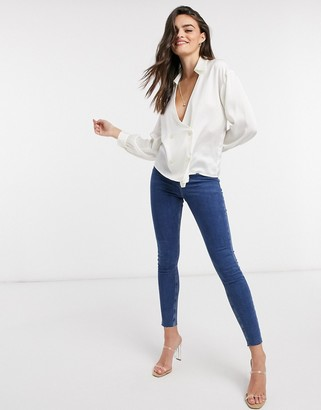 ASOS DESIGN satin wrap tux shirt with statement sleeve in cream-No Color