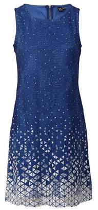 Dorothy Perkins Womens *Izabel London Blue Floral Print Lace Overlay Dress, Blue