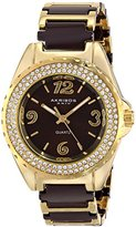 Akribos XXIV Women's AK514BRG Quartz Movement Watch with Brown Dial and Yellow Gold and Brown Ceramic Bracelet