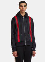 Gucci Striped Hooded Bomber Jacket In Black