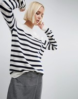 Asos Breton Stripe Cashmere Crew Neck Sweater