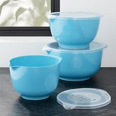 Crate & Barrel Rosti Latin Blue Melamine Mixing Bowls with Lids Set
