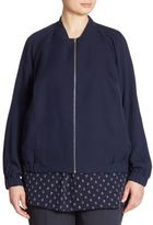 Lafayette 148 New York, Plus Size Irelyn Reversible Silk Bomber Jacket