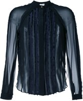 3.1 Phillip Lim frayed trim sheer shirt - women - Nylon/Polyester - 8