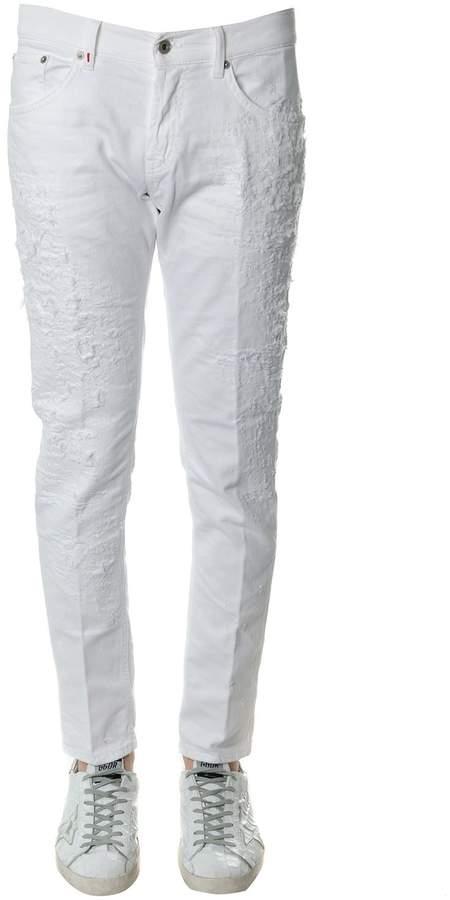 Dondup White Distressed Cotton Denim Jeans