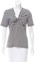 Rena Lange Striped V-Neckline Top
