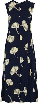 Victoria Beckham Pleated Printed Crepe Midi Dress