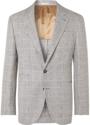Brunello Cucinelli Charcoal Slim-fit Unstructured Houndstooth Linen, Wool And Silk-blend Blazer - Gray