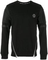 Philipp Plein zipped biker patch sweatshirt - men - Cotton/Polyester/Polyurethane - S