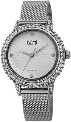 Burgi Women's Stainless Steel Mesh Diamond Watch