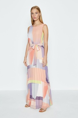 Coast Geo Print Pleated Maxi Skirt Dress