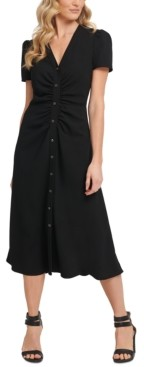 DKNY Ruched Button-Through Midi Dress