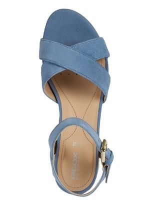Geox Ischia Suede Wedge Sandal - Light Blue