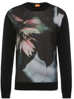 HUGO BOSS Whit Cotton Lily Print Sweatshirt L Black