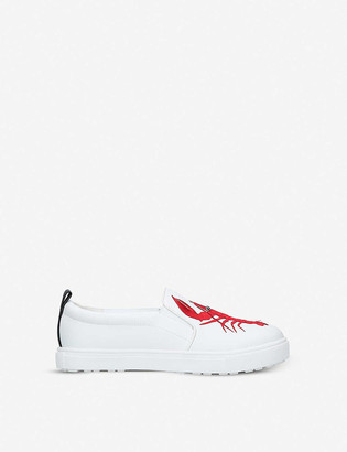 Kurt Geiger Claude lobster-embroidered slip-on trainers 1-10 years