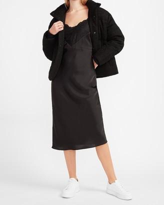 Express Satin Lace Pieced Slip Dress