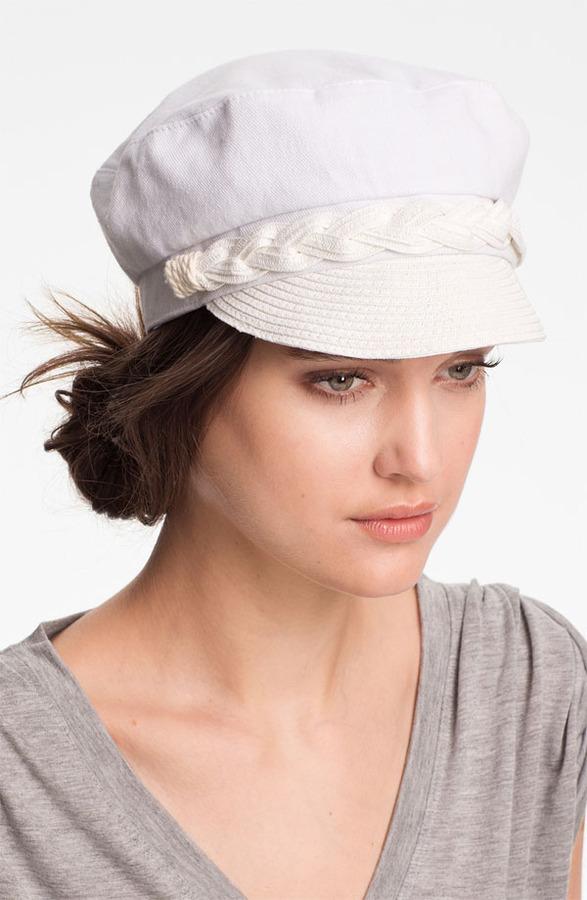 Jessica Simpson Straw Accent Military Cap