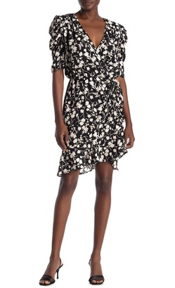 Sugar Lips Fairly Floral Ruched Faux Wrap Dress