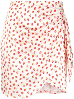 Caroline Constas Strawberry-Print Draped Mini Skirt