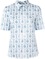 Jil Sander Navy Tile print collar T-shirt - women - Cotton - 34