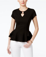 Amy Byer Juniors' Jacquard Peplum Top