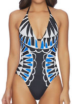 Ella Moss Cutout-Front Printed One-Piece