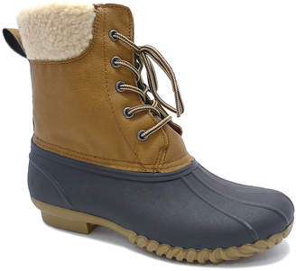 Wild Diva Women's Rain boots TAN - Tan Sherpa-Lined Devina Duck Boot - Women