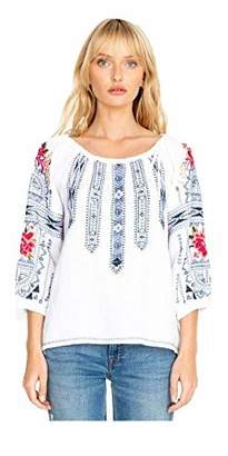 Johnny Was JWLA By Women's Embroidered Tie Peasant Blouse