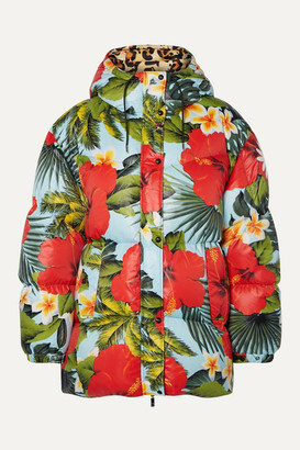 MONCLER GENIUS 0 Richard Quinn Mary Oversized Hooded Printed Quilted Shell Down Jacket - Red