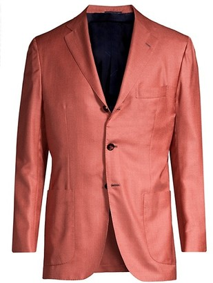 Kiton Solid Silk & Wool Single-Breasted Blazer