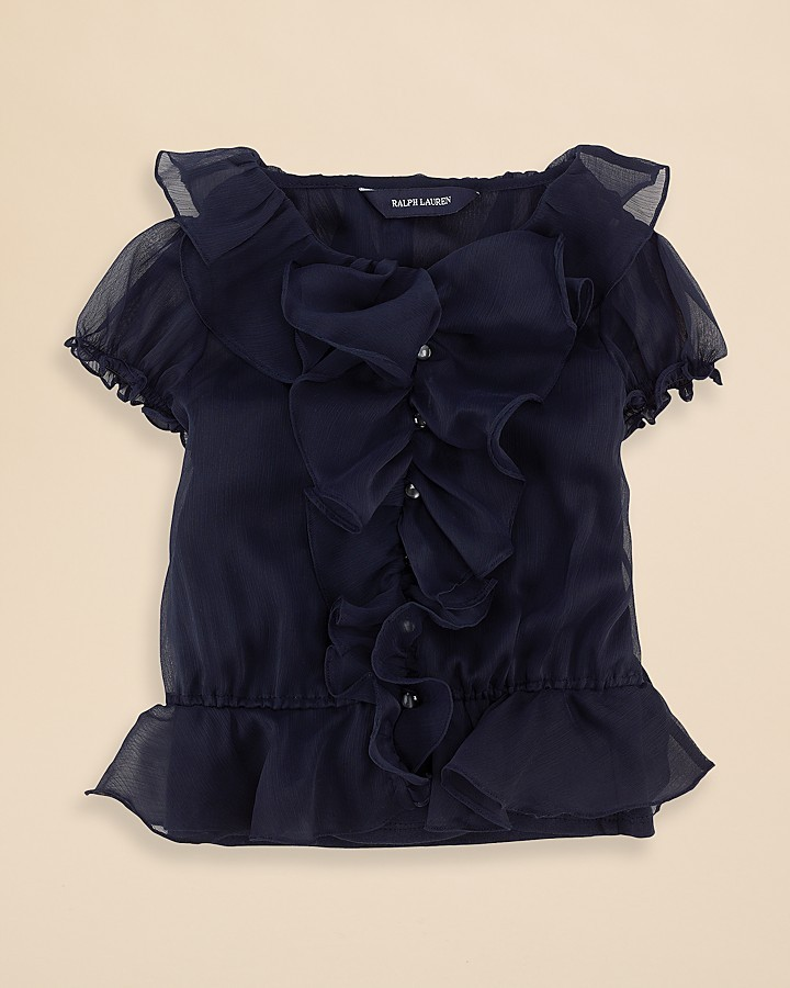 Ralph Lauren Girls' Ruffle Chiffon Blouse - Sizes 2-6X