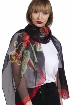 Finecy In NEW Women Sunflower Floral Print Silk Chiffon Scarf Wrap Large Light Spring Summer UK (Green)