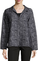 Lafayette 148 New York Tweed Zip-Front Topper, Navy Multi