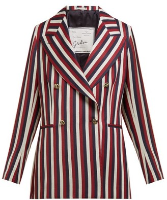 Giuliva Heritage Collection The Stella Double-breasted Striped Wool Blazer - Red Multi