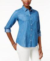Charter Club Denim Roll-Tab Shirt, Only at Macy's