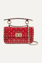 Valentino Garavani The Rockstud Spike Small Quilted Patent-leather Shoulder Bag - Red