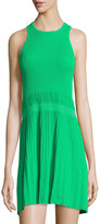 See by Chloe Sleeveless Ribbed-Knit Pleated Dress, Green