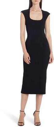 Dolce & Gabbana Square Neck Silk Sheath Midi Dress