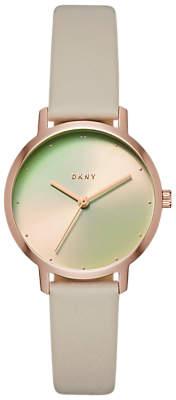 DKNY NY2740 Women's Modernist Leather Strap Watch, Grey/Multi
