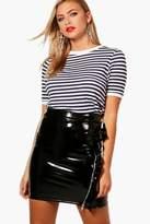 boohoo Eva Fine Stripe Rib Cuff & Neck Top