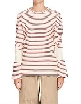 Bassike Stripe Rib Insert L/S T Shirt