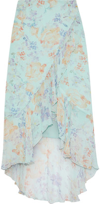Alice + Olivia Caily Wrap-effect Floral-print Georgette Skirt
