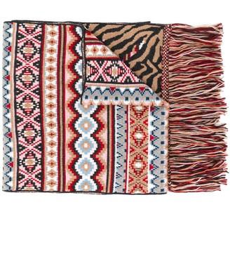 Alanui Fair Isle knit fringed scarf