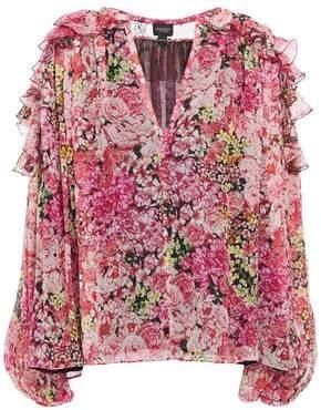 Giambattista Valli Lace-paneled Ruffled Floral-print Silk-chiffon Blouse