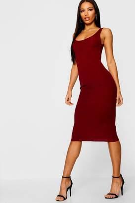 boohoo Rib Sleeveless Midi Dress