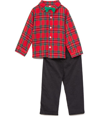 Baby Essentials Boys' Dress Pants Red - Red Plaid Bow Tie Button-Up & Black Pants - Infant